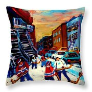Hockey Paintings Of Montreal St Urbain Street City Scenes Throw Pillow