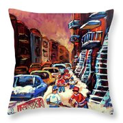 Hockey Paintings Of Montreal St Urbain Street Winterscene Throw Pillow