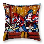 Hockey Rink Paintings New York Rangers Vs Habs Original Six Teams Hockey Winter Scene Carole Spandau Throw Pillow