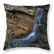 Hocking Hills State Park Small Waterfall Throw Pillow