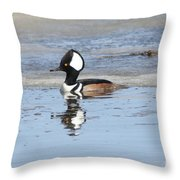 Hodded Merganser With Reflection Throw Pillow