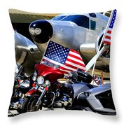 Hog Heaven At The Hollister Air Show Throw Pillow