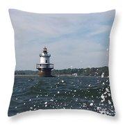 Hog Island Shoal Lighthouse Throw Pillow