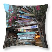 Hogfish Bar And Grill Directional Sign Throw Pillow