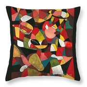 Hogs Hoops And A Pigskin Throw Pillow by Nadine Rippelmeyer