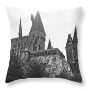 Hogwarts Castle Black And White Throw Pillow
