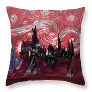 Hogwarts Starry Night In Red Throw Pillow