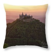 Hohenzollern Castle At Sunset Throw Pillow by Yair Karelic