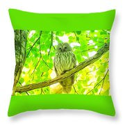 Owl  Watercolor Touch Throw Pillow