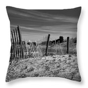 Holding Back The Dunes In Black And White Throw Pillow