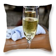 Holding Champagne Glass In Hand Throw Pillow