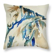 Holding On     War Ponies Throw Pillow