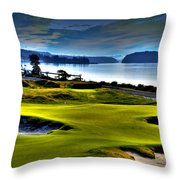 Hole #17 At Chambers Bay Throw Pillow