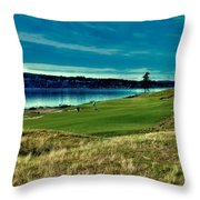 Hole #2 At Chambers Bay Throw Pillow