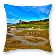 Hole #3 At Chambers Bay Throw Pillow