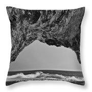 Hole In The Wall Beach Throw Pillow