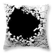Hole On A Broken White Wall Blank Space. 3d Illustration. Throw Pillow