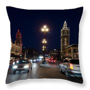 Holiday In Motion On The Plaza Throw Pillow