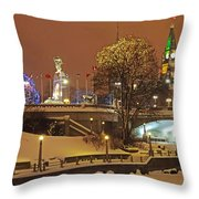 Holiday In Ottawa - Parliament And Peace Tower Night Lights Throw Pillow