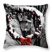 Holiday Lamp Post Throw Pillow