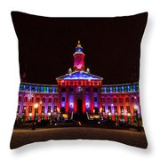 Holiday Light Panorama Of The Denver City And County Building Throw Pillow