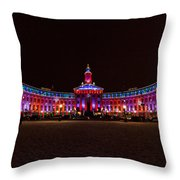 Holiday Lights Of The Denver City And County Building Throw Pillow