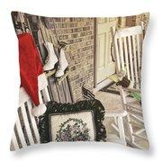 Holiday Porch Throw Pillow