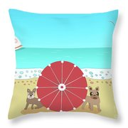 Holiday Romance Behind The Red Umbrella Throw Pillow