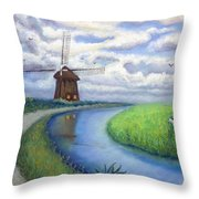 Holland Windmill Bike Path Throw Pillow