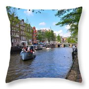Hollanders On Canal - Color Throw Pillow