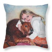 Hollis And Hannah - Cropped Version Throw Pillow