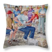 Hollow Guitar Player Throw Pillow