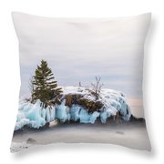 Hollow Rock Winter Throw Pillow