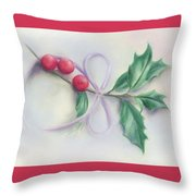 Holly Sprig With Bow Throw Pillow