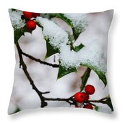 Holly Tree And Snow Throw Pillow