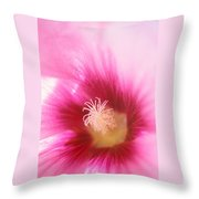 Hollyhock Closeup Throw Pillow by Kathy Yates