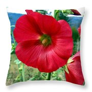 Hollyhock Hill Throw Pillow