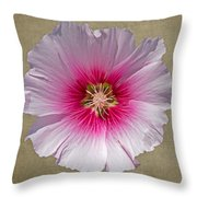 Hollyhock On Linen 2 Throw Pillow