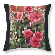 Hollyhocks Along The Fence Throw Pillow