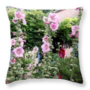 Hollyhocks Taos New Mexico Throw Pillow