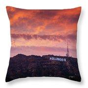Hollywood Sign At Sunset Throw Pillow