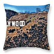 Hollywood Sign Throw Pillow