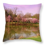 Holmdel Park In Spring Throw Pillow
