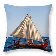 Holokai - Pacific Islander Sailing Canoe Throw Pillow