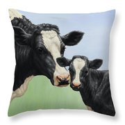 Holstein Cow And Calf Throw Pillow by Crista Forest