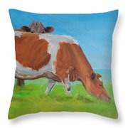 Holstein Friesian Cow And Brown Cow Throw Pillow
