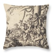 Holy Family With Putti Throw Pillow