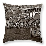 Holy Ganges Monochrome Throw Pillow
