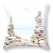 Holy Island Pebbles Throw Pillow