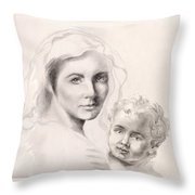 Holy Mary And Christ Child Throw Pillow